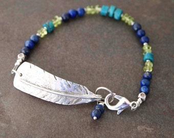 Wild Turkey Feather Lapis, Peridot Bracelet