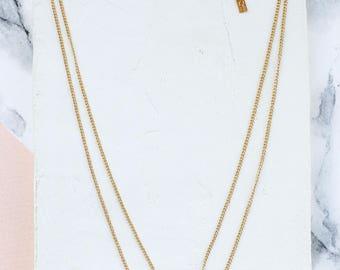 Short Balance Necklace, Minimalist Jewelry, Charm Necklace, Multi Strand, Multi Layer, Double Necklace, Chevron Pendant, V Pendant, Layered