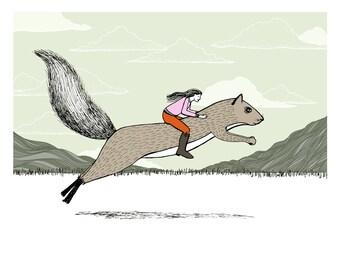 Girl riding a Squirrel illustration art print
