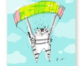 Parachute Birthday Cat Cat - Happy Birthday Card