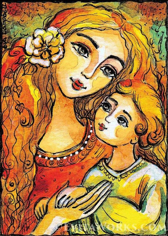 mother child art motherhood baby room ideas nursery wall art gift, beauty painting, mother son, feminine decor print 8x11+