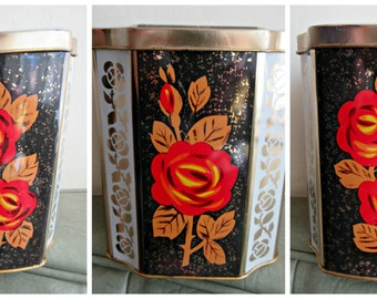 Vintage Tin, Floral Tin, Red Rose Tin, Hinged Lid, Made in England, Vintage Storage, Lidded Tin, Black and Red, Retro Lidded Storage Tin