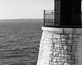"Nautical Photography, Landscape, Lighthouse, Coast, New England, Seaside, Black & White, 6x9 or 8x12. ""Castle Hill Light, B+W""."