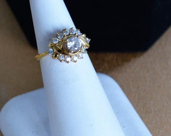 Pretty Vintage Faux Diamond Engagement Ring, Gold tone, Size 5-3/4, 14kt Gold Electroplate (AE2)