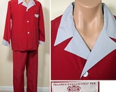 RESERVED Vintage 1950s Red and Grey Rayon Men's Pajamas – Nwt SZ L - XL