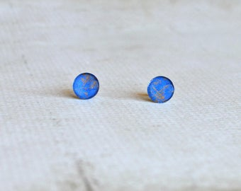 Blue Earring Studs- Glass Titanium Studs- Bright Blue and Brown Streaked Earrings- Hypoallergenic- Abstract Earrings- Space-Like Earrings