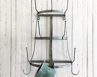 Metal Wall Rack, Farmhouse Home Decor, Galvanized Metal Decor, Metal Wall Cup Holder