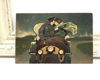 Vintage Greeting Postcard, Vintage Postcard, Paper Ephemera, Birthday Card, Birthday Greetings, Couple Riding in Automobile, Driving Car