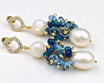 Pearl Opal Earrings London Blue Topaz Pearl Earrings Ivory Pearl Ethiopian Opal Cluster Wire Wrap Earring Pearl Topaz Opal Black Tie Earring