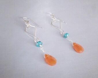 Carnelian Turquoise Earrings / Carnelian Turquoise Dangles / Silver Wire Earrings / Silver Carnelian Dangle Earrings /Silver Orange Earrings