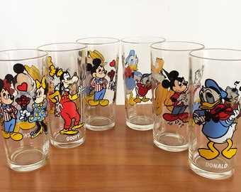 Vintage Set of Six Walt Disney Productions, Pepsi Collector Series Glassware, Juice Glasses, Cartoon Character, Mikey, Pluto, Donald