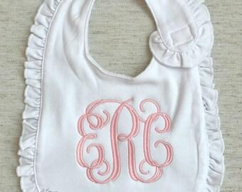 Monogrammed Ruffle Baby Bib