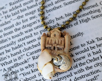 Floating Sandcastle-  Polymer Clay and Opalized Seashell Fossils Necklace - Sale