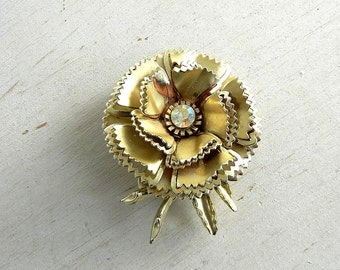 Gold Metallic Metal Flower Brooch | Vintage Flower Pin | Gold-Tone Flower Pin | Rhinestone | Vintage Jewelry