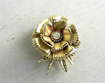Metal Flower Brooch | Vintage Flower Pin | Goldtone Flower Pin | Rhinestone | Vintage Jewelry