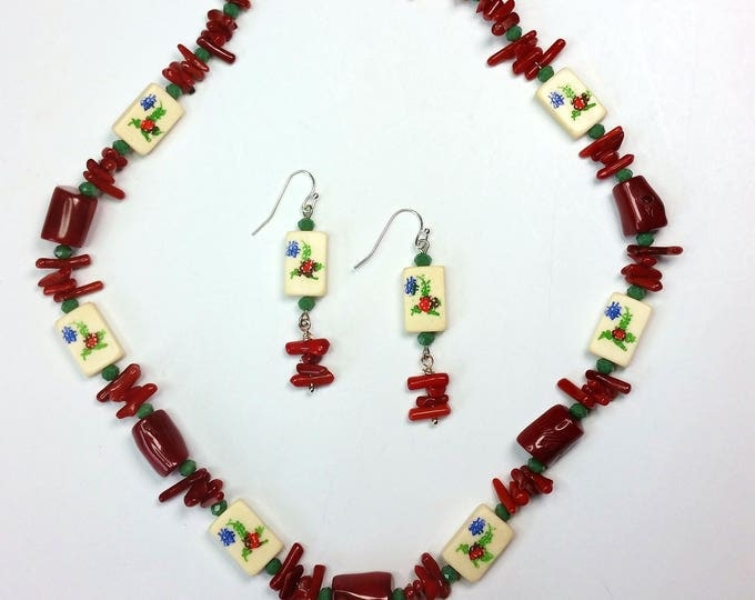 Petite Mahjong Flower Tile Bead and Coral Necklace Set