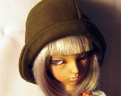 Olive green 1920s cloche hat for minifee, MSD,1/4 bjd DOLL