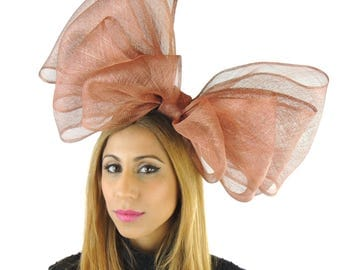 Metallic Copper Brown 20 Inch Cliverina Fascinator Hat for Weddings, Occasions and Parties on a Headband in 40 Colours