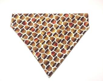 Pet Accessory - Autumn Acorns - Over the Collar - Custom - Bandana, Bow Tie, Neck Tie, Flower