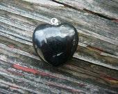Shungite Puffy Heart Pendant w/Sterling Silver Bail