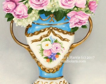 Pink Roses and Hydrangea in Antique French Sevres Vase 16x20 Floral