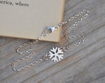 SnowFlake Bracelet Anklet With In Solid Sterling Silver Handmade In England