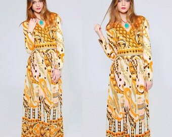 Vintage 70s PAISLEY Maxi Dress PRINTED Boho Dress PSYCHEDELIC Maxi Dress Hippie Dress