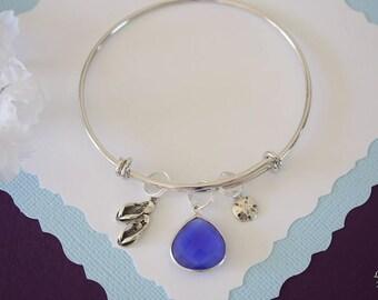 Beach Bangle Bracelet Silver, Flip Flops Charm, Sand Dollar Charm Bangle, Expandable, Sterling Silver, Nautical, Charm Bracelet, Vacation