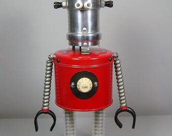NEBULA Found Object  Robot Sculpture Assemblage Metal Recycled Repurposed