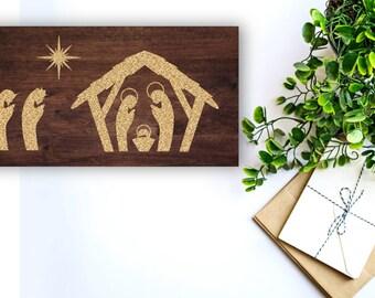 Christmas Wood Sign - Nativity Scene - Religious Decor - Wood Nativity Sign  - Christmas Decor -Manger Sign - Baby Jesus Nativity