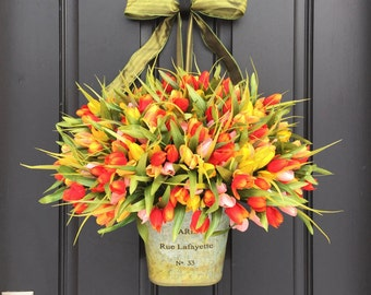 Tulip Wreath, Tulips for Spring,  French Tulip Bucket, Container of Tulips, Spring Tulips for Door, Door Wreaths Tulips, Outdoor Tulips