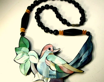 Spring Bird Pastel Necklace,  Black Horn Beads and Soft Easter Colored Mother of Pearl Bib, MOP Luminescent Shell