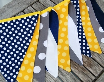 Yellow, Navy Blue Bunting Banner Flags, Birthday Decoration, Gender Neutral Garland, Pennant, Photo Prop Dots & Stripes - Cloth, Fabric