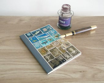Teal-Brown Travel Notebook - Lined A6 Stamp Art Pocket Journal