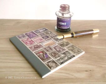 Dusky Purple Brown Postage Stamp Journal - One of the 'Lost' Notebooks