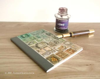 Green Brown Postage Stamp Journal - One of the 'Lost' Notebooks