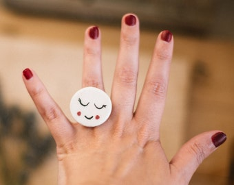 Cute face ring. Cute face ceramic ring. Handmade ceramic jewelry ring. Ceramic cute smile ring. Ceramic ring handpainted