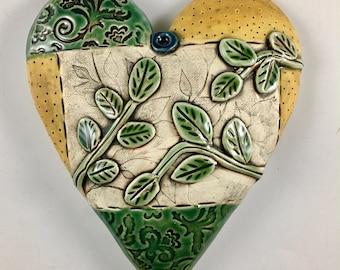 Ceramic Heart, Home Decor, Wall Decor, Pillow Heart, Ceramic Wall Art, Valentine gift