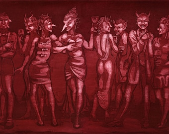 "Etching print - ""Crimson Masquerade"" - sinister original art by Nancy Farmer, UK. crimson / red monochrome print. Devils, demons and wine."