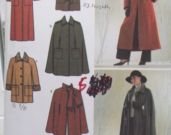 Misses' Lined Cape or Coat, Simplicity 3959 Sewing Pattern, Fashion Collared Cloak Tribal High Fashion, Cuffed Coat in 2 Lengths Size 8 - 16
