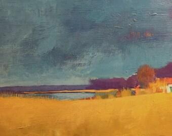 """Quiet Day at Emmett's Place - Original Acrylic Oil Encaustic Landscape Painting - 30""""x 15"""""""