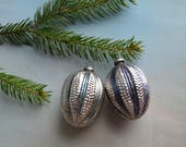2 Antique Bumpy Glass Feather Tree Christmas Ornaments