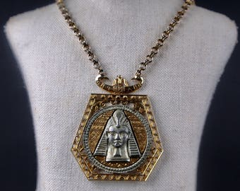 egyptian revival pendant necklace vintage 1960s ART king tut pharoah medallion rolo chain