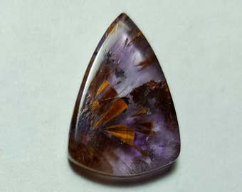 Sale AMETHYST CACOXANITE 7.5 Carat Hand Polished Triangle Shaped Crystal Cabochon From Brazil