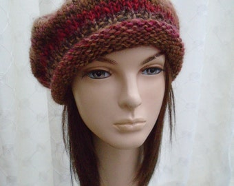 TUDOR a unique slouchy beret by irish granny soft wool red brown camel tweedy tam M L