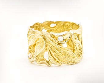 gold and diamond wedding band 14k gold wedding ring for women unique wedding ring - Gold Wedding Rings For Women