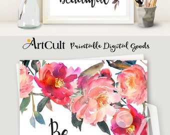 """Printable artwork """"Be your own kind of beautiful"""" instant digital download inspirational quote teen room art decor print-it-yourself ArtCult"""
