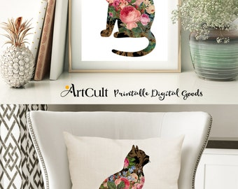2 Digital Sheets ROSE GARDEN CATS Printable Images to print on fabric / paper, Iron On Transfer for totes t-shirts pillows home decor