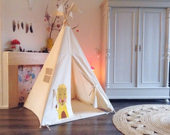 Play Teepee Tent - MIDI size 'Lion' decorated indoor play teepee tent. Kids teepee. Play tipi. circus theme.