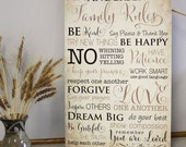Custom Family Rules Canvas Gallery Wrap